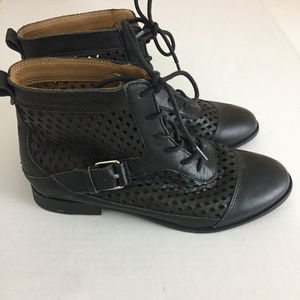 Women's KENSIE Rahi Black Leather Perforated Boots